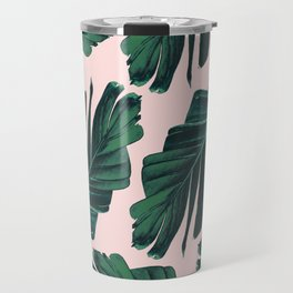 Tropical Blush Banana Leaves Dream #1 #decor #art #society6 Travel Mug