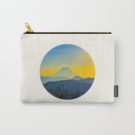 Mid Century Modern Round Circle Photo Yellow Blue Mount Fuji Sunset Watercolor Effect Landscape Carry-All Pouch