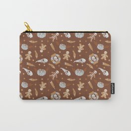 Halloween seamless background with skulls, pumpkins and feathers Carry-All Pouch