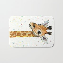 Giraffe Baby Animal with Hearts Watercolor Bath Mat