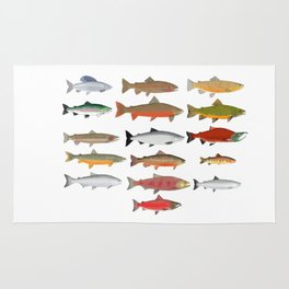 Trout, Char and Salmon Group Rug