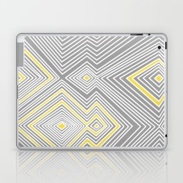 White, Yellow, and Gray Lines - Illusion Laptop & iPad Skin