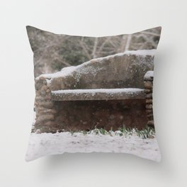 Snow Covered Bench Photography Throw Pillow