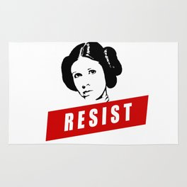 Princess Leia RESIST Star War black white red join the resistance Rug