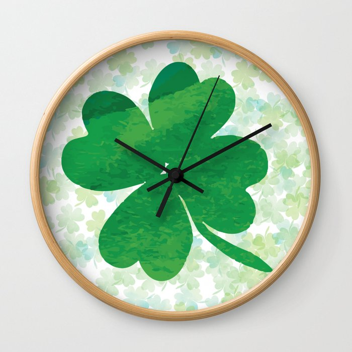 Lucky Watercolor Clovers Wall Clock