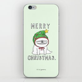 Grumpy Christmas puggy iPhone Skin