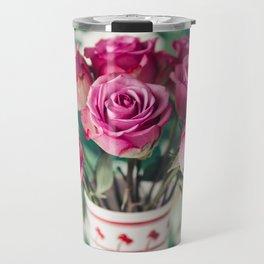 Purple Roses Against Banana Palms Travel Mug