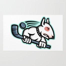 Bull Terrier Ice Hockey Mascot Rug