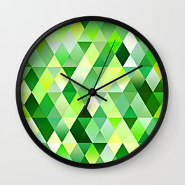Lime Green Yellow White Diamond Triangles Mosaic Pattern Wall Clock