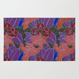 Blue Lilies and Orchids Rug