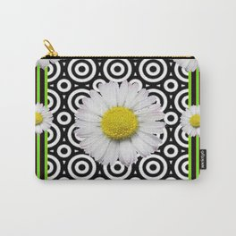 Modern Deco Style Shasta Daisies Black Art Carry-All Pouch