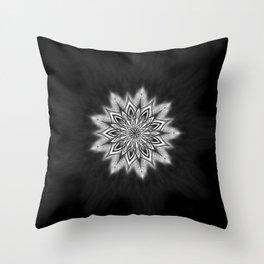 Black Ice Mandala Swirl Throw Pillow