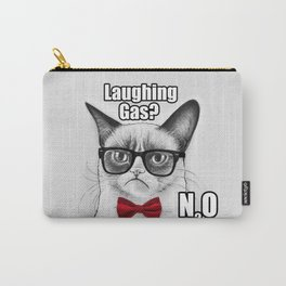 Grumpy Chemistry Cat Geek Science Meme Whimsical Animals in Glasses Carry-All Pouch