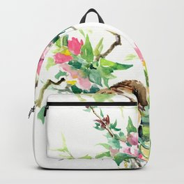 Sparrows and Apple Blossom Backpack