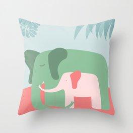 Mama Elephant (blue version) Throw Pillow