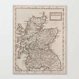 Vintage Map of Scotland (1681) Canvas Print