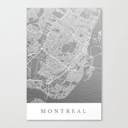 Silver Montreal map Canvas Print