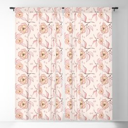Pink Peony Kiss Floral Pattern Blackout Curtain