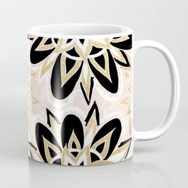 Modern black gold pink abstract floral pattern Coffee Mug