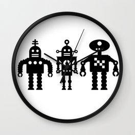 Three Robots by Bruce Gray Wall Clock