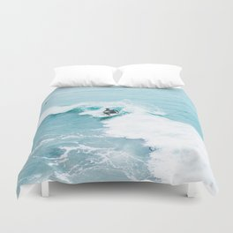 Wave Surfer Turquoise Duvet Cover