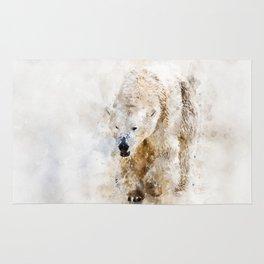 Abstract watercolor polar bear Rug