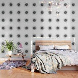 Black and white fine lines geometric mandala Wallpaper