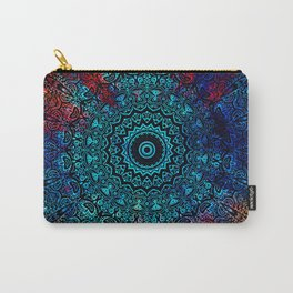 Bohemian Passion Blue & Red Mandala Design Carry-All Pouch