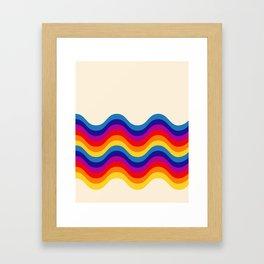 Wavy retro rainbow Framed Art Print