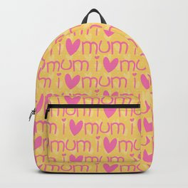Pink yellow hand painted watercolor I love mum typography Backpack