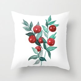 Butchers broom red berries Throw Pillow