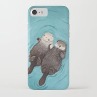 fish iPhone & iPod Cases featuring Otterly Romantic - Otters Holding Hands by When Guinea Pigs Fly