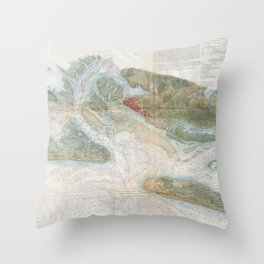 Vintage Map of Beaufort Harbor SC (1857) Throw Pillow