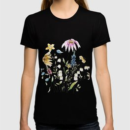 wild flowers and blue bird _ink and watercolor 1 T-shirt