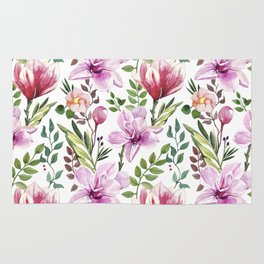 Watercolor hand-painted floral spring seamless pattern Rug