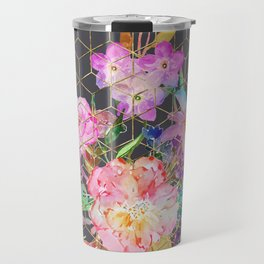 Modern watercolor floral and gold geometric cubes Travel Mug