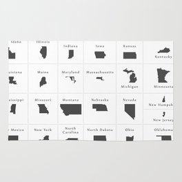 Federal states of the USA overview Rug