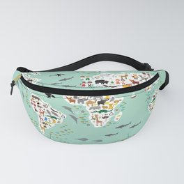 Cartoon animal world map for children and kids, back to schhool. Animals from all over the world Fanny Pack