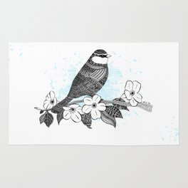 Bird and cherry blossoms Rug
