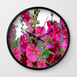 PINK- PURPLE COTTAGE  HOLLYHOCKS WHITE & GREY GARDEN Wall Clock