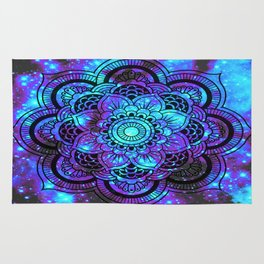 Mandala : Bright Violet & Teal Galaxy 2 Rug