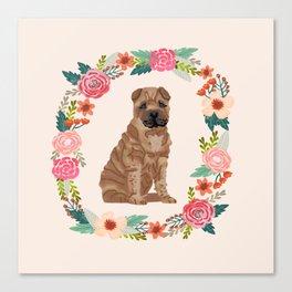 sharpei dog breed floral wreath pet portrait dog gifts Canvas Print