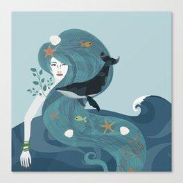 Aquatic Life of a Seaflower Canvas Print