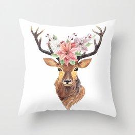 Winter Deer 3 Throw Pillow