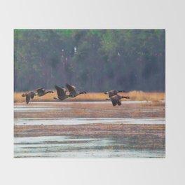 Flying Canadian Geese Throw Blanket