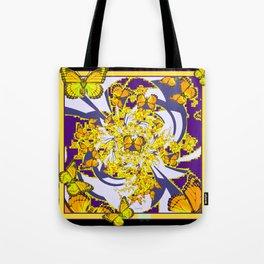 Modern Art Yellow Butterflies Purple Patterns Tote Bag