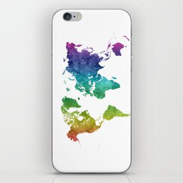 World map in watercolor rainbow iPhone Skin
