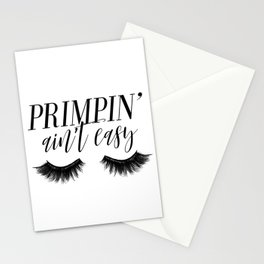 Primpin' Ain't Easy, Wall Art, Typography, Bathroom Print, Girl Room Decor, Makeup Lover Print Stationery Cards