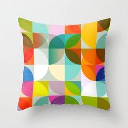 mid century geometry vibrant colors Throw Pillow