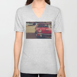 Triumph spitfire, english car by the beach in italy, old car and a boat, for man cave decor Unisex V-Neck